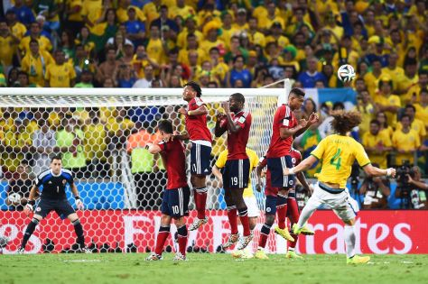 David Luiz scoring THAT free kick at the World Cup (Jamie McDonald/Getty Images)